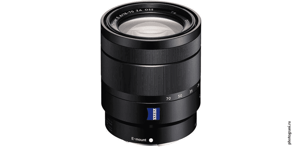Маркировка объектива Sony Vario-Tessar T* E 16-70 мм F4 ZA OSS (SEL1670Z)