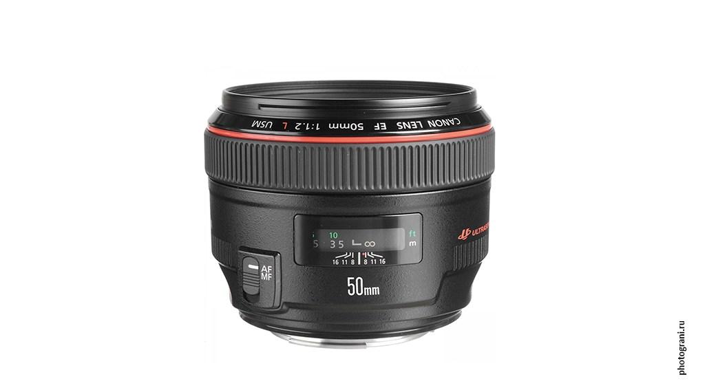 Маркировка объектива Canon EF 50mm f/1.2L USM