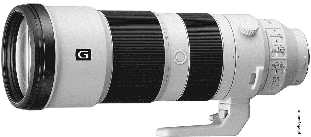 Маркировка объектива Sony FE 200–600mm f/5.6–6.3 G OSS (SEL200600G)