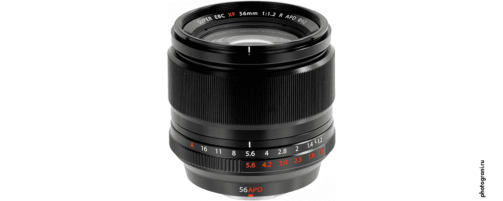 Маркировка объектива Fujifilm XF 56mm f/1.2 R APD