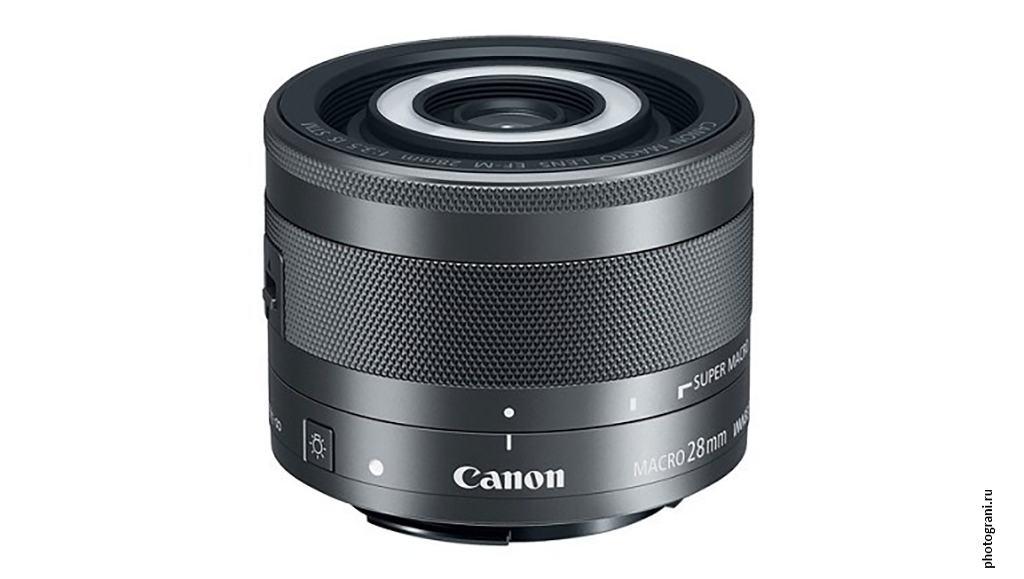 Маркировка объектива Canon EF-M 28 мм f/3.5 Macro IS STM