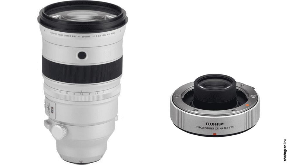 Маркировка объектива Fujifilm XF 200mm f/2 R LM OIS WR + XF 1.4X TC F2 WR Teleconverter