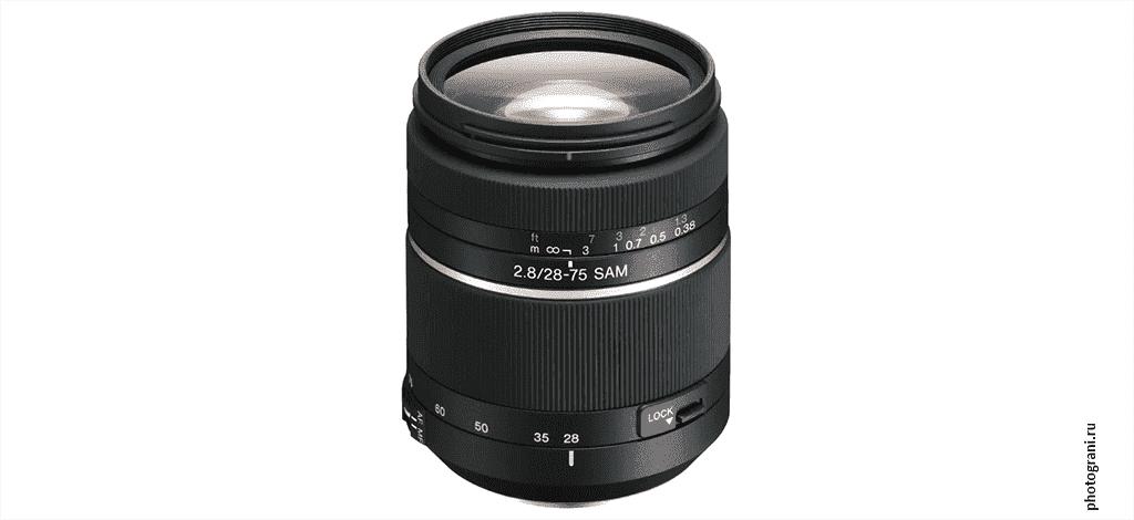 Маркировка объектива Sony 28–75mm f/2.8 SAM (SAL2875)