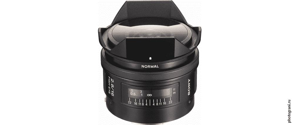 Маркировка объектива Sony 16mm f/2.8 Fish-Eye (SAL16F28)