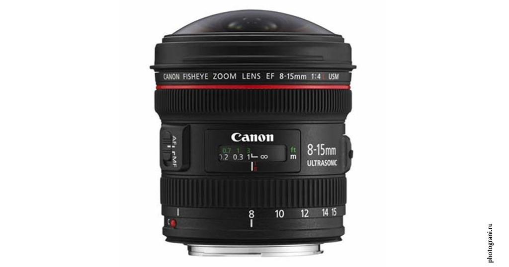 Маркировка объектива Canon EF 8-15mm f/4L Fisheye USM